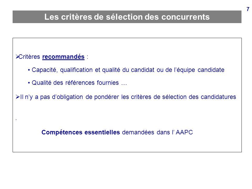 Les critères de sélection des concurrents