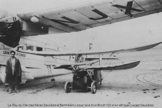 Le Pou du Ciel des frères Saucède et Barthélémy sous l'aile d'un Bloch 120 d'Air Afrique (Lucien Saucède)