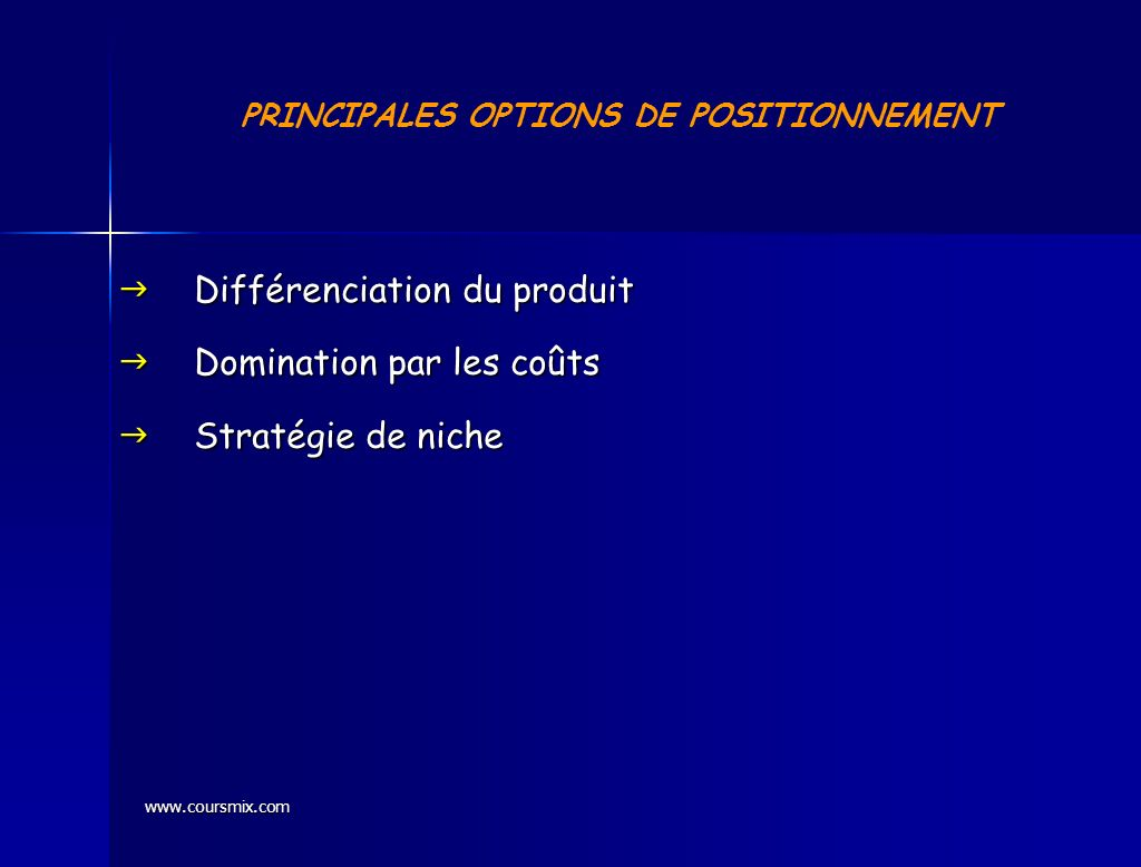 PRINCIPALES OPTIONS DE POSITIONNEMENT