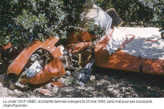 Le Jodel 120 F-OBBC accidenté dans les orangers le 25 mai 1960, sans mal pour ses occupants (Alain Paumier)