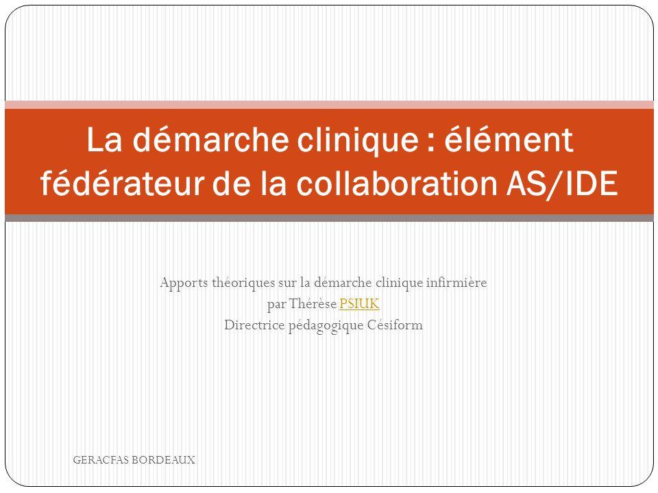 La démarche clinique : élément fédérateur de la collaboration AS/IDE