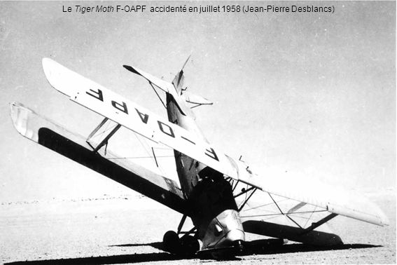 Le Tiger Moth F-OAPF accidenté en juillet 1958 (Jean-Pierre Desblancs)