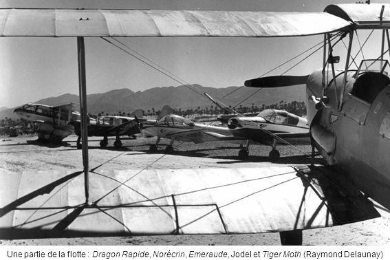 Une partie de la flotte : Dragon Rapide, Norécrin, Emeraude, Jodel et Tiger Moth (Raymond Delaunay)