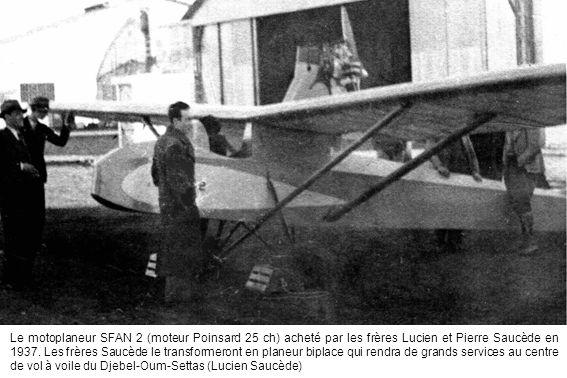 Le motoplaneur SFAN 2 (moteur Poinsard 25 ch) acheté par les frères Lucien et Pierre Saucède en 1937.