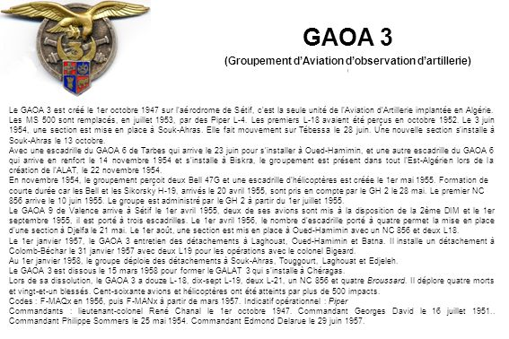 (Groupement d'Aviation d'observation d'artillerie)
