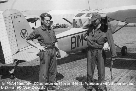 1er PMAH 2ème DIM - Détachement de Bône en 1960 - Lt Petitcolas et Adj Vallot qui sera tué le 25 mai 1960 (Suzy Debaralle)