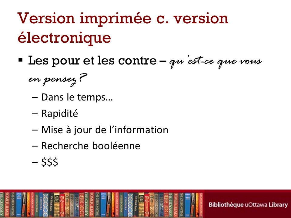 Version imprimée c. version électronique