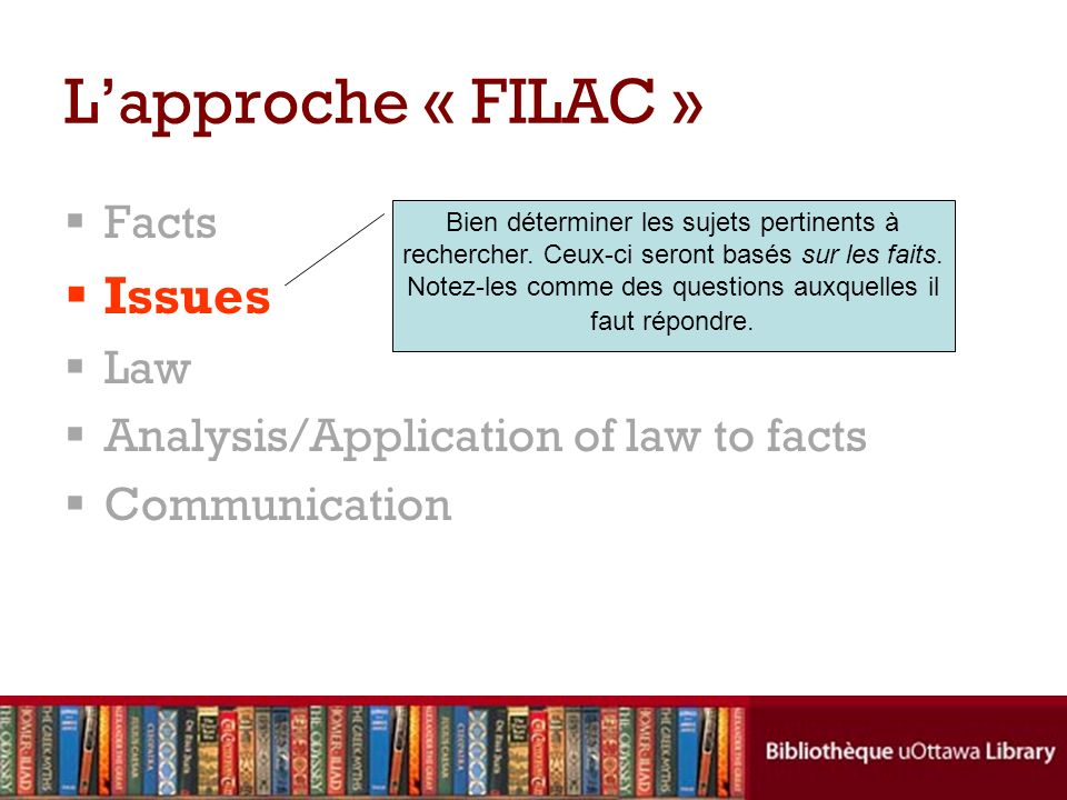 L'approche « FILAC » Issues Facts Law