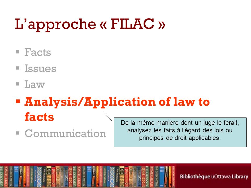 L'approche « FILAC » Analysis/Application of law to facts Facts Issues