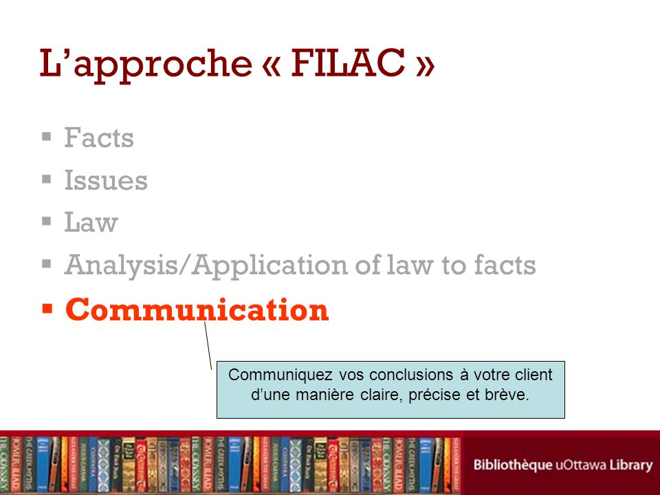 L'approche « FILAC » Communication Facts Issues Law