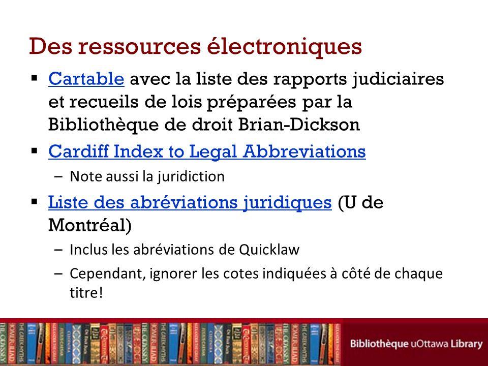 Des ressources électroniques
