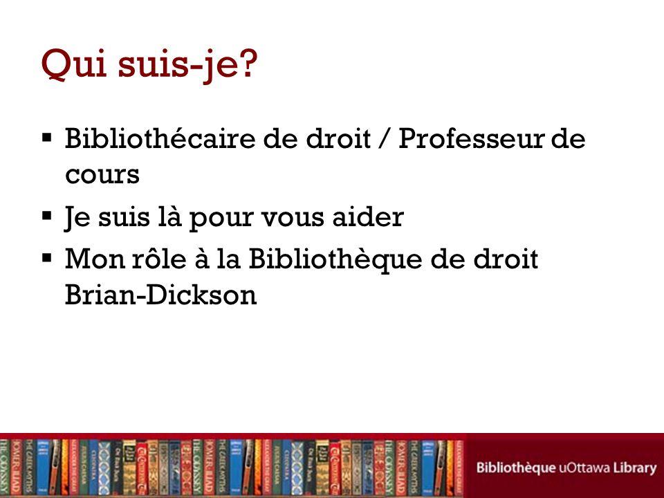 Qui suis-je Bibliothécaire de droit / Professeur de cours