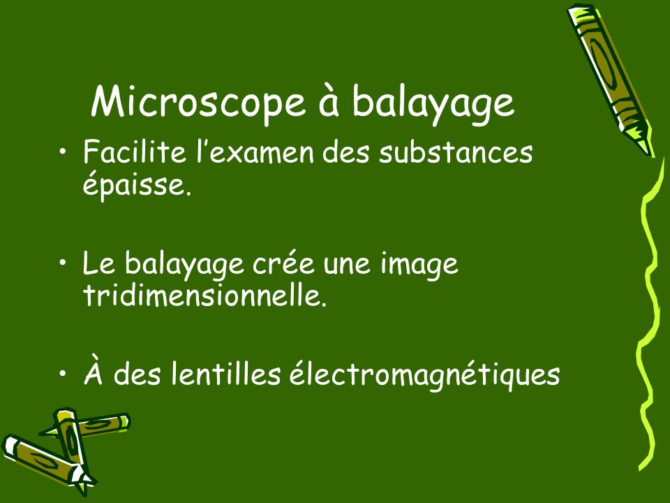 Microscope à balayage Facilite l'examen des substances épaisse.