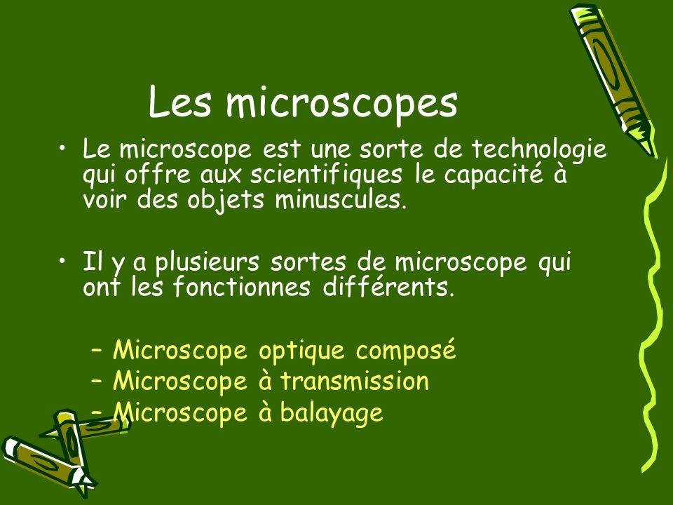 Les microscopes Le microscope est une sorte de technologie qui offre aux scientifiques le capacité à voir des objets minuscules.