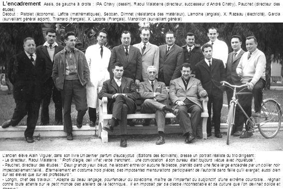 L'encadrement Assis, de gauche à droite : IPA Chavy (dessin), Raoul Malaterre (directeur, successeur d'André Chatry), Pauchet (directeur des études)