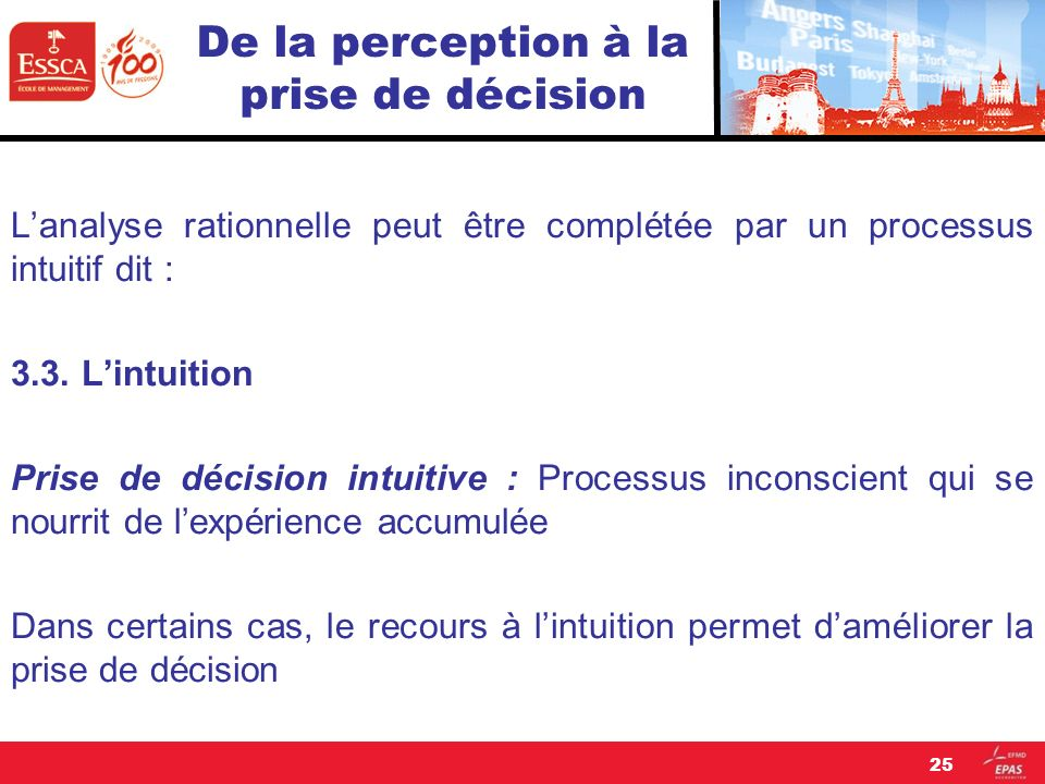 De la perception à la prise de décision