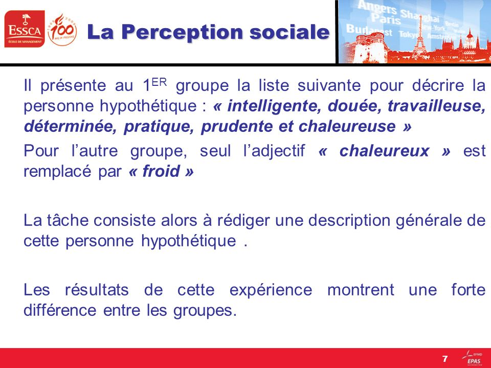 La Perception sociale