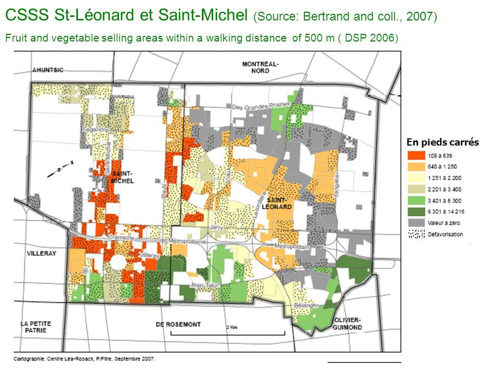 CSSS St-Léonard et Saint-Michel (Source: Bertrand and coll., 2007)