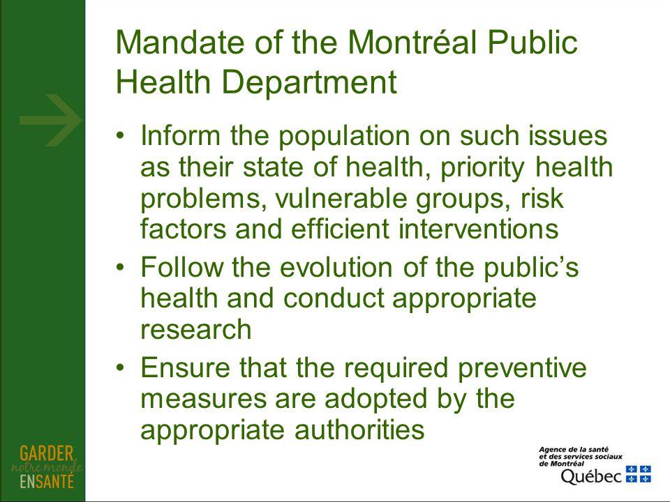 Mandate of the Montréal Public Health Department