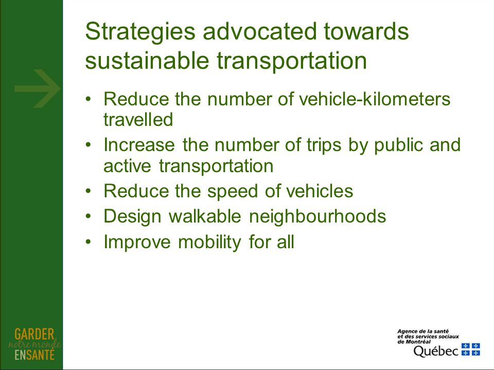 Strategies advocated towards sustainable transportation