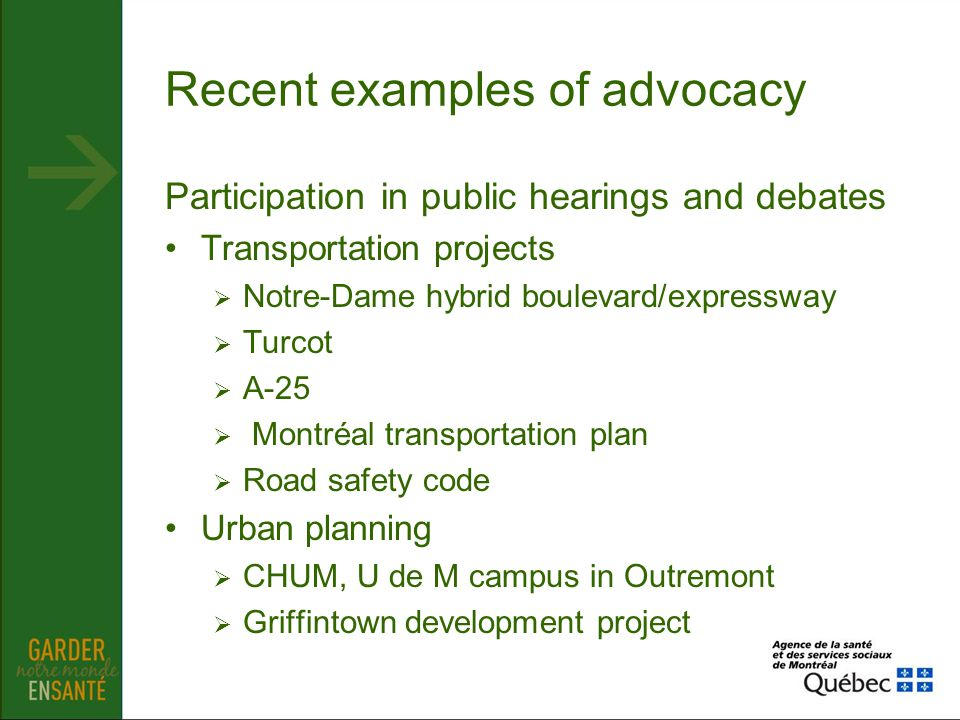 Recent examples of advocacy