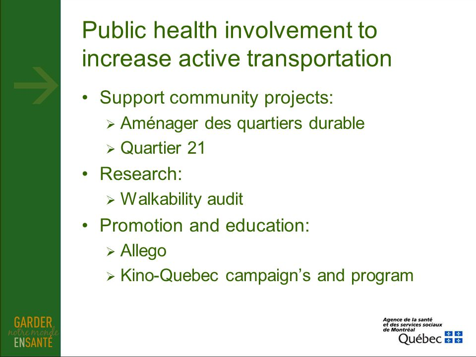 Public health involvement to increase active transportation