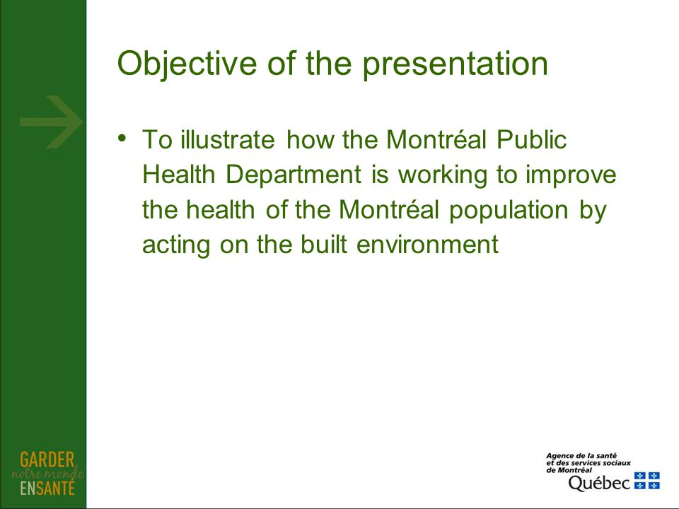 Objective of the presentation