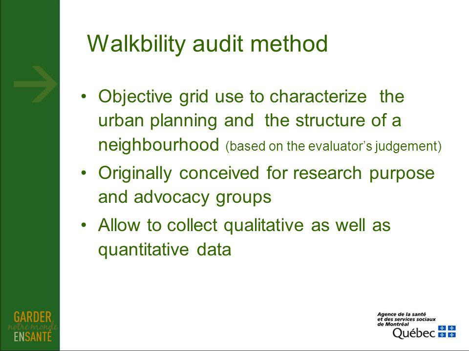 Walkbility audit method