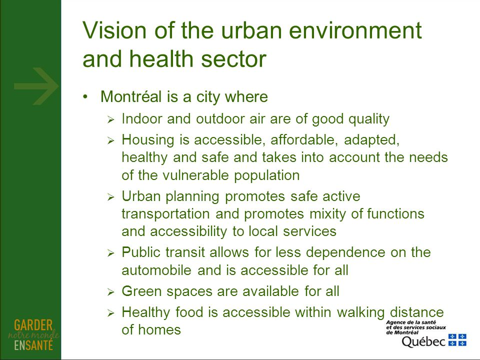 Vision of the urban environment and health sector