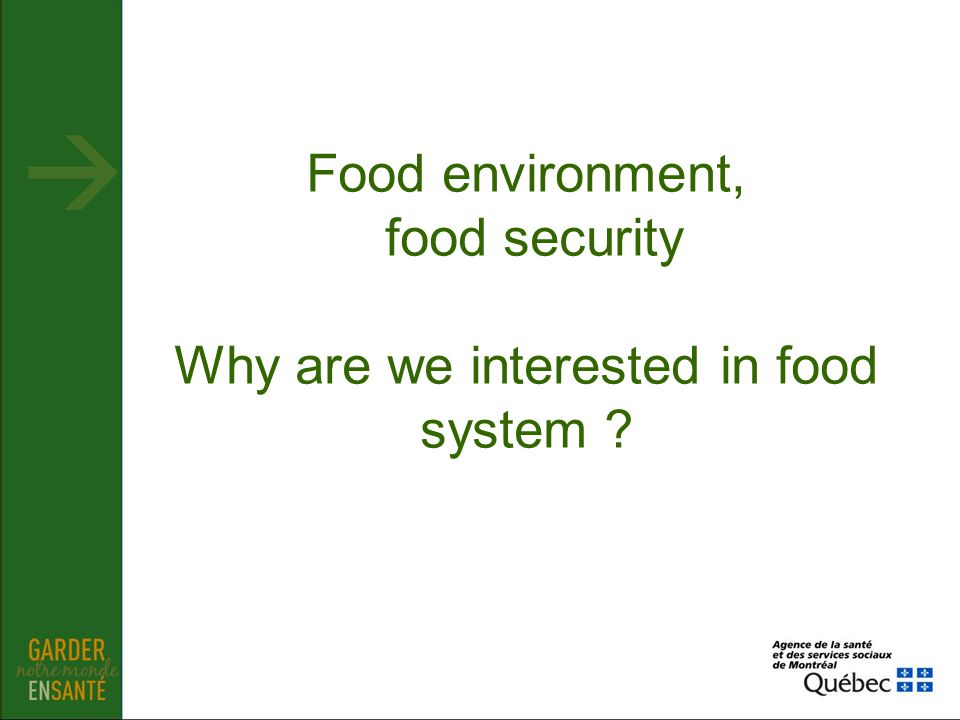 Food environment, food security Why are we interested in food system