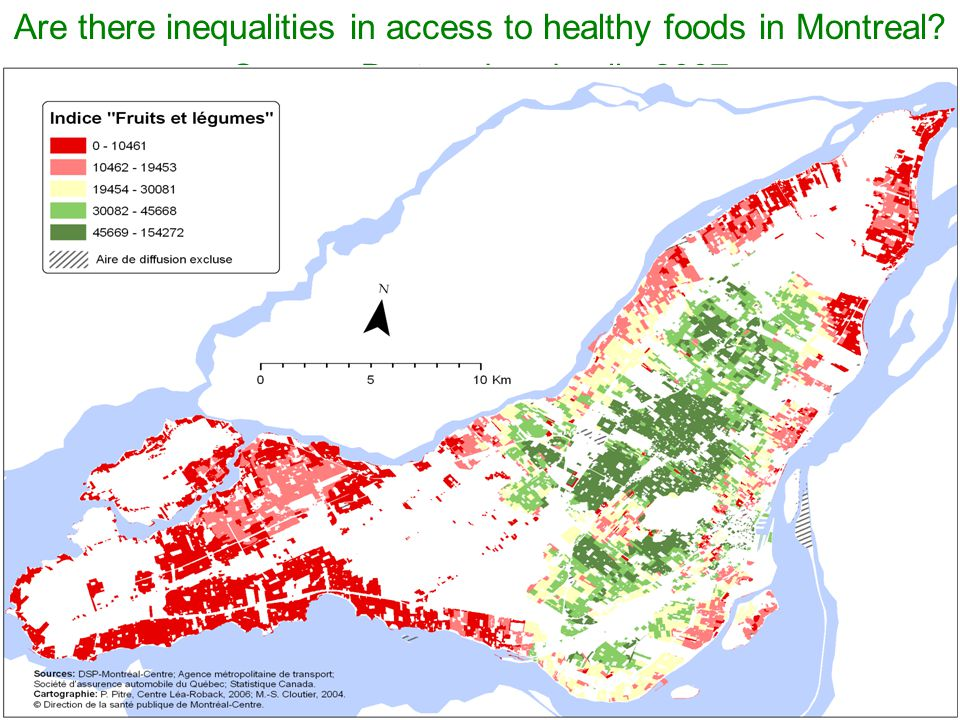 Are there inequalities in access to healthy foods in Montreal