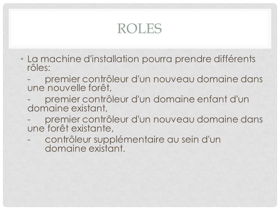 Roles La machine d installation pourra prendre différents rôles: