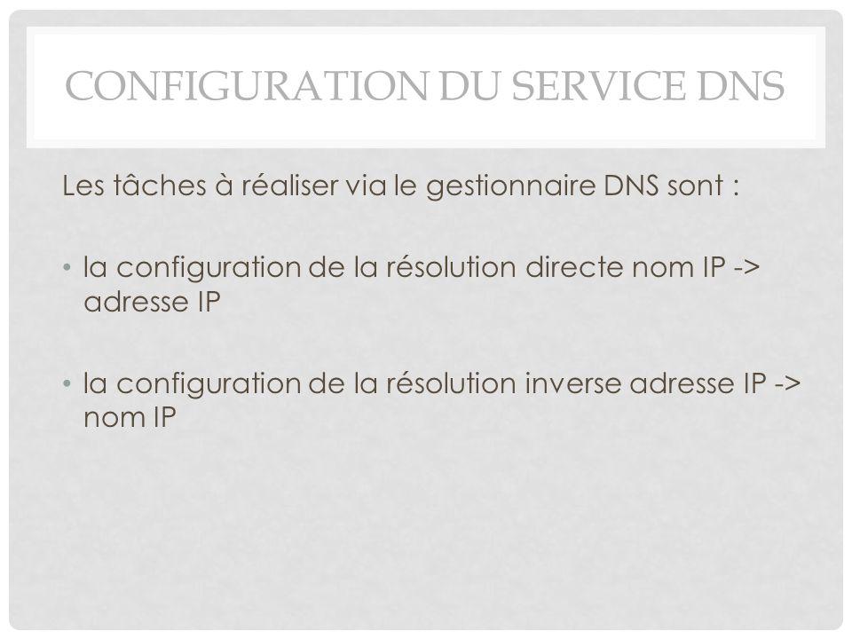 Configuration du service DNS