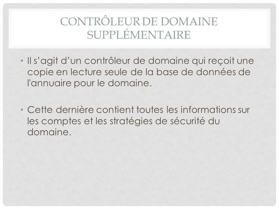 CONTRÔLEUR DE DOMAINE SUPPLÉMENTAIRE