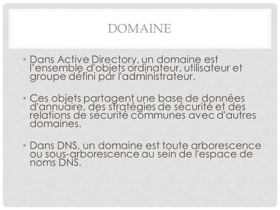 Domaine Dans Active Directory, un domaine est l'ensemble d objets ordinateur, utilisateur et groupe défini par l administrateur.