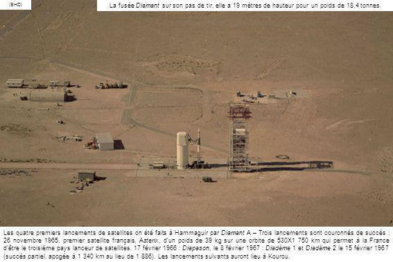 (SHD) La fusée Diamant sur son pas de tir, elle a 19 mètres de hauteur pour un poids de 18,4 tonnes.