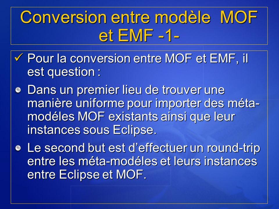 Conversion entre modèle MOF et EMF -1-