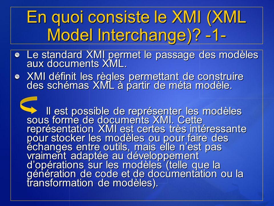 En quoi consiste le XMI (XML Model Interchange) -1-
