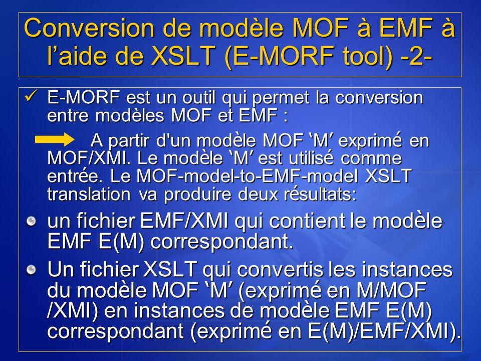 Conversion de modèle MOF à EMF à l'aide de XSLT (E-MORF tool) -2-