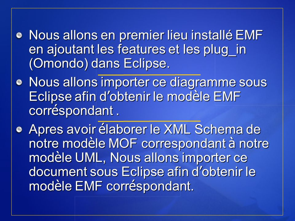 RT5 I.N.S.A.T 2005/2006Nous allons en premier lieu installé EMF en ajoutant les features et les plug_in (Omondo) dans Eclipse.