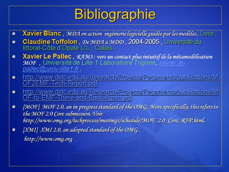 RT5 I.N.S.A.T 2005/2006 Bibliographie. Xavier Blanc , MDA en action ingénierie logicielle guidée par les modèles , Livre.