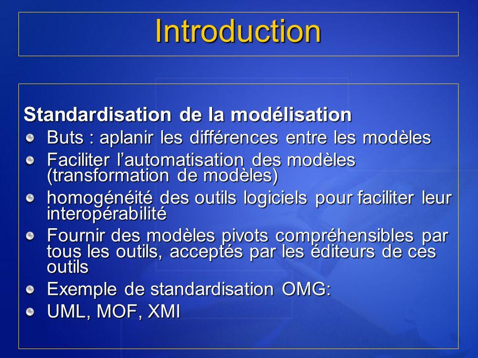 Introduction Standardisation de la modélisation