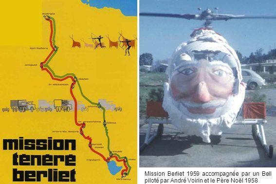 Mission Berliet 1959 accompagnée par un Bell piloté par André Voirin et le Père Noël 1958