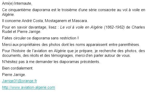 Ami(e) Internaute, Ce cinquantième diaporama est le troisième d'une série consacrée au vol à voile en Algérie.