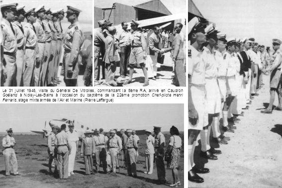 Le 31 juillet 1946, visite du Général De Vitrolles, commandant la 5ème RA, arrivé en Caudron Goéland à Noisy-Les-Bains à l'occasion du baptême de la 22ème promotion Chef-pilote Henri Ferraris, stage mixte armée de l'Air et Marine (Pierre Laffargue)