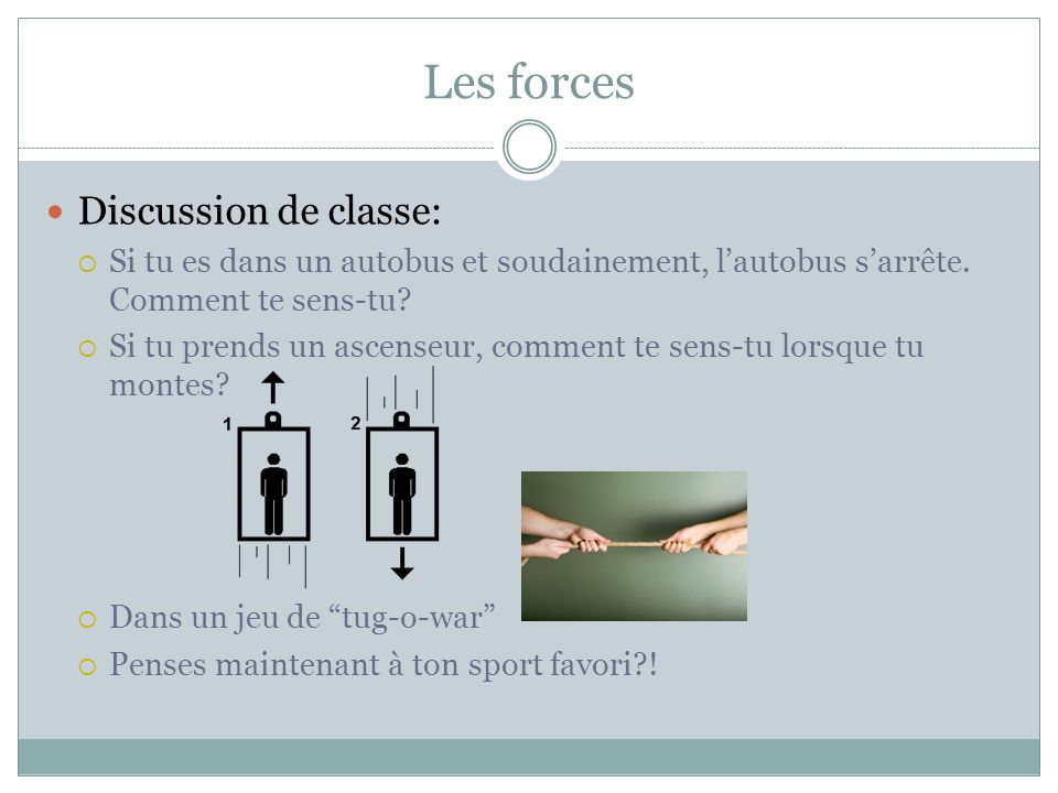 Les forces Discussion de classe: