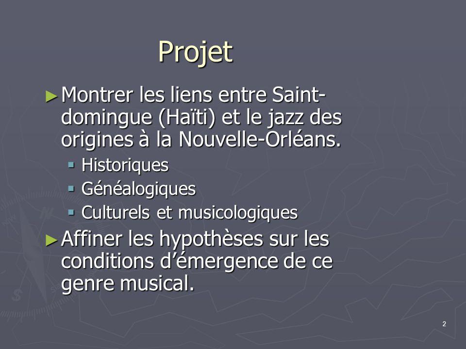 Projet Montrer les liens entre Saint-domingue (Haïti) et le jazz des origines à la Nouvelle-Orléans.