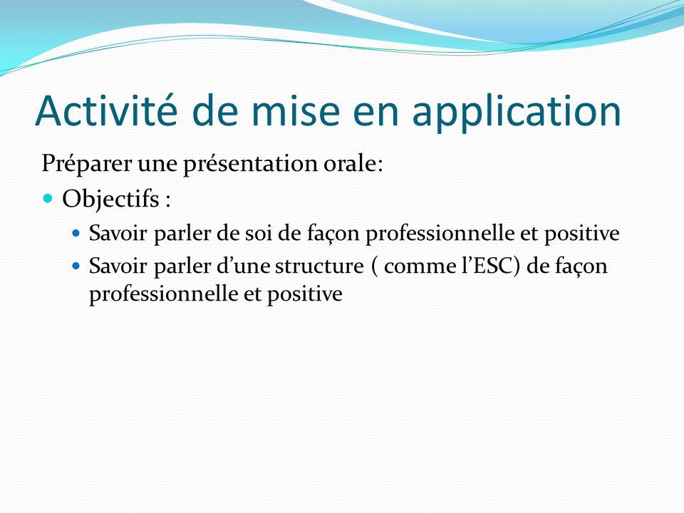 Activité de mise en application