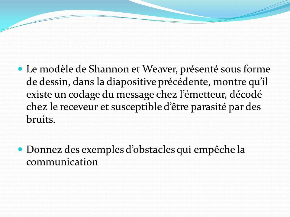 Le modèle de Shannon et Weaver, présenté sous forme de dessin, dans la diapositive précédente, montre qu'il existe un codage du message chez l'émetteur, décodé chez le receveur et susceptible d'être parasité par des bruits.