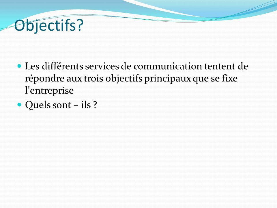Objectifs Les différents services de communication tentent de répondre aux trois objectifs principaux que se fixe l entreprise.